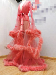 Pink Sleepwear For Photo Shoot Sexy Robe Women Photography Props Custom Made Illusion Tulle with Fur Real Pic Nightdress
