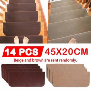 14pcs Set Floor Rug Carpet for Stairway Anti-Slip Stair Mats Self-adhesive Step Mats Foot Pad Entrance Mat Safety Pads Mat