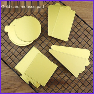 100pcs Mousse Cake Boards Gold Paper Cupcake Dessert Displays Tray Wedding Birthday Cake Pastry Decorative Tools Kit 201023