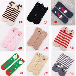 Cute Animal Design Deer Christmas Socks 3D Fluffy Coral Velvet Thick Warm Winter Sock For Women New Year Gift with Box OWE2799