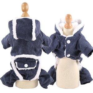 Çift katmanlı artı kadife pet giysileri kış sıcak 4 bacaklı giysiler 2 bacaklı pamuk