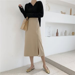 New Spring Elegant Solid High Waist Package Hip Skirt Casual Simple Side Slit A-line Women Skirts Mid-length Female Skirts