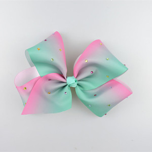 Clearance sale Rainbow rhinestone large Hair Bows Childrens big bowknot Hair Clips baby Accessories Toddler Bows kids Hairclips Z294