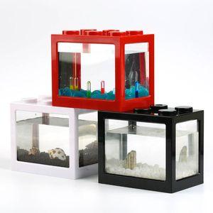 Creative Home Aquarium Fish Tank Mini Fish Cup Goldfish Jar Blanco Building Blocks Fish Tanque Previsión Cilindro Paisaje