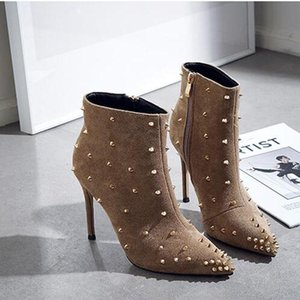 Big Size (33~42) Autumn Winter Rivet High Heel Shoes Woman Sexy Ankle Boots Sexy Pointed Toe Thin Heels Party Boots T55-99