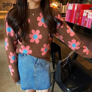 Gaganight Çiçek Kadınlar Vintage Triko Örme Uzun Kollu O Boyun Chic Kore Kazak Outweat Çekme Femme Moda Kazak Yeni