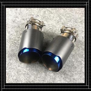 1 Parça Mavi Karbon Fiber + Paslanmaz Çelik Egzoz Borusu Susturucu Ucu Tüm Arabalar için Fit Egzoz Boru Uzunluğu 175 mm1