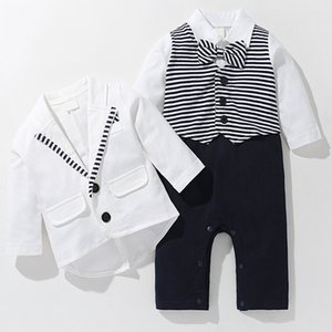 2020 New Autumn Boys Sets Children Fashion Long-Sleeved Gentleman Striped Jumpsuit + Solid Color Coat 2 Pieces Toddler Baby Kids Y1113