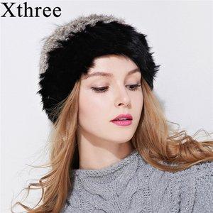 Xthree inverno coelho beanie para as mulheres menina com guaxinim pom chapéu duplo-deck de malha