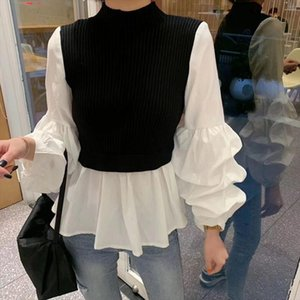 Knitted Patchwork Fake Two Piece Shirt Women 2019 Autumn And Winter New Slim Stand Collar Lantern Long Sleeved Shirt