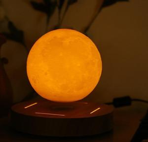 Base Levitating Decorazione romantica Nuova lampada Lampada in legno Lampada galleggiante rotata Moon 10cm Camera da letto Lampada da letto 3D per Home Night Jllyf Yummy_Shop