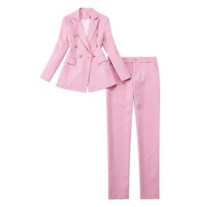 High Quality Winter Professional Women's Office Jacket Pants Two-piece Suit Elegant Double Breasted Lady Blazer Work Clothes