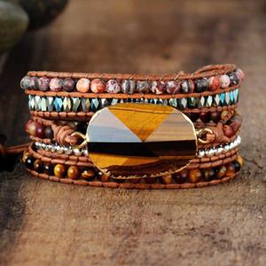 Exclusive Women Beads Wrap Bracelet Tiger Eye Charm 5 Times Leather Strap Bracelets Multilayers Beadwork Bracelet Dropship F1201