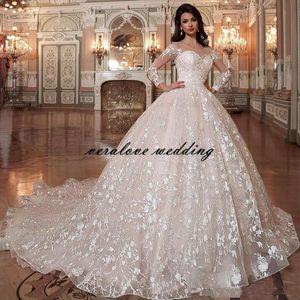 Dubai Arabic Princesse Ball Gown Wedding Dresses 2021 Lace Applique Royal Bridal Gowns Long robes de mariée