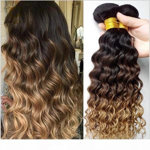 Ombre Hair Extensions Three Tone 1B 4 27 Brown Blonde Ombre Deep Wave Hair 3Pieces Lot Honey Blonde Ombre Wavy Human Hair Bundles