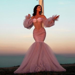 Vestidos De Graduación Mermaid Prom Dresses Long Sleeves Crystal Beaded Pageant Evening Dress For Women Party Night