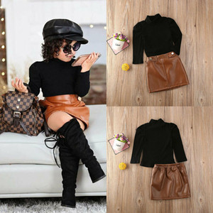 INS Kids Spring Fall Outfits Girls Black High Collar Puff Sleeve T-shirt+Brown PU leather Skirts 2Pcs Lady style Child sets A5270