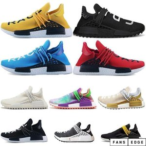 Human Race HU Trail Shoes Mens Women Pharrell Williams Runner HAPPY Nerd Equality Cream Yellow Core Black Red Sports Sneakers 36-47
