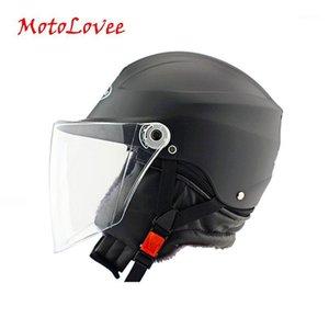 MotoLovee Motorcycle Keep Warm Helmet Winter Motorbike Solid Color Helmet Motocross Open Face Retro Vintage1