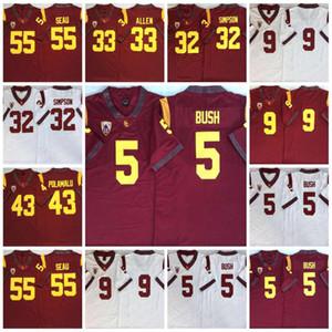 2020 Vintage USC TROJANS # 5 Reggie Bush 32 OJ Simpson 14 Sam Darnold 9 Kedon Slovis 43 Troy Polamalu 55 Junior Seau Jersey