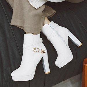 Black White Autumn Women Boots Fashion Platform Square High Heel Ankle Boots Zipper Woman Winter Warm Plush Female Shoes
