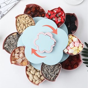 Creative Flower Petal Rotating Wedding Party Snack Box Fruit Plate Candy Storage Box 10 Grids Nuts Snack Tray Flowers Shape Box Z1123