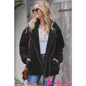 Breaker Pocketed Sherpa Statement Jacket Fashion Asymmetric Zipper Sherpa Style Side Bag Furry Lady's Jacket in 2020
