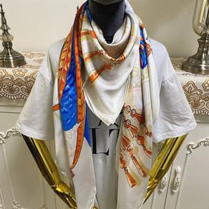 New style good quality 100% twill silk material white color print pattern square scarf shawl for women size 130cm - 130cm