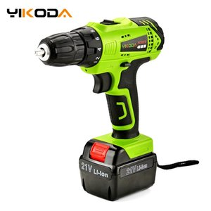 YIKODA 21V Electric Screwdriver Rechargeable Cordless Drill Lithium Battery Household Multi-function Double Speed Power Tools Y200321