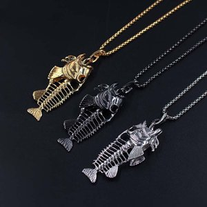 Charms Fishing Hook Pendant Necklaces Stainless Steel Hollow Fish Skeleton Bone Necklace Fashion Jewelry