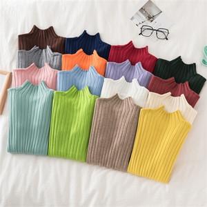 Croysier pullbover pull tricoté femmes hiver cou haut col de base slim décontracté côtelé tricot top vêtements automne vêtements chandails 201016