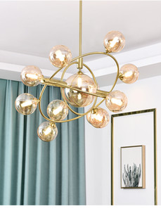 Moderno Global Glass Chandelier Light Nordic Bubble Vidrio Colgante Colgante Luces Lleva Lámpara Lámpara Lámpara