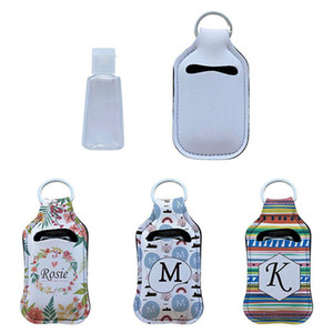 Neoprene Hand Sanitizer Bottle Holder Lipstick Holder Keychain Bags 30ML Perfume Hand Washing Fluid Bottle White for Sublimation Print