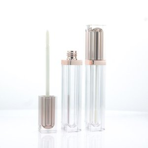 Empty Lipgloss Tubes Square Clear Lip Gloss Tube Liquid Lipgloss Refillable Bottles Plastic Lip Gloss Packaging Containers 6ml