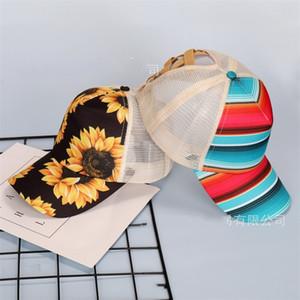 Çiçek Çizgili Beyzbol Net Cap Sunlight Çapraz Ayarlanabilir Hat at kuyruğu saç Mesh Baskı Kadın Erkek Moda Sıcak Satış 9 5rk M2