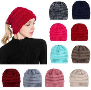 Knitted Cap Ponytail Cap Women Caps Fashion Beanie Outdoor Ski Beanies Winter Warm Wool Knitting Hat Party Hats Supplies 14 styles YYS3258