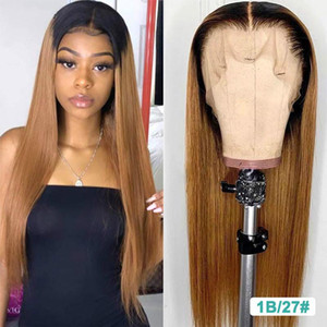 Blonde Lace Front Wigs Highlight Brown Ombre Human Hair Wig 13X6 Brazilian Straight Lace Front Human Hair Wigs