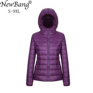 NewBang 8XL 9XL Plus Size Ultra Light Down Jacket Women Autumn Winter Warm Coat White Duck Jackets Female Hooded Parka LJ201120