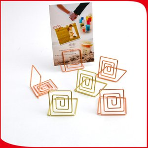 Two Colors Name Card Holders Square Shape Note Clamps Electroplate Rose Gold Color Cards Holder Creative 0 9zq L1