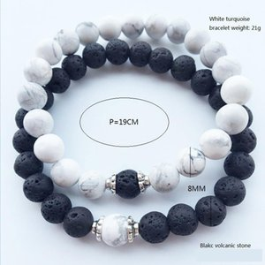 Stone Lava Hot New Natural Volcanic White Turquoise Bracelet Wholesale Handmade Beads Bracelets Jewelry N89