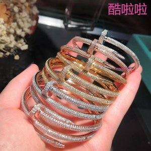 Net Red with The Same Nail 18K Rose Gold Full Drill Bracelet Plated White Gold Belt Diamond Couple Jewelry