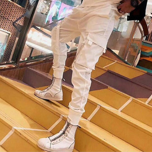 New Male Korean slim Hot sweatpants fit summer style personality overalls wild tide Men ankle banded fashion casual pants