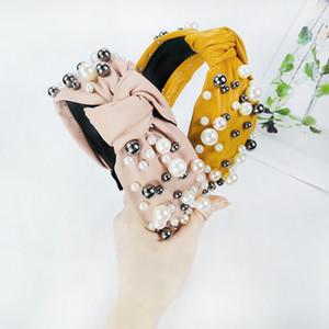 Ampio bordo PU Cortex Hairband Women Girl Girl annodato Pearl Retro Hair Hoop Accessori moda multicolor 5 3CX J2