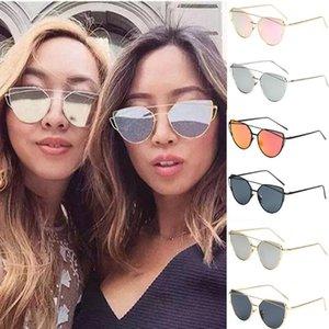 Солнцезащитные очки Летняя мода 2021 Женщины Глаз Плоский объектив Зеркал Металлические Очки Очки Мужчины Негабаритный Кот Sun YL5