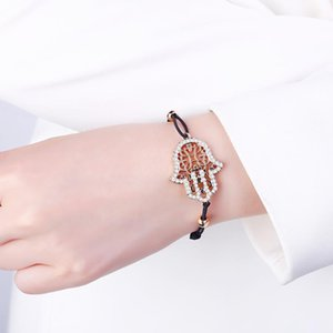 Hand Hamsa Fatima Bracelet Gold Silvery Crystal Pendant Hollow Rope Women Bracelets Leather Buddhism Jewelry Women Accessorie