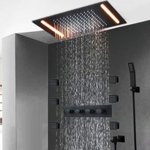 Hot Sale Massage Jets Shower System 360*500mm LED Rain Big Shower Head Black Finish Bathroom Faucet Set Wall Mounted Shower