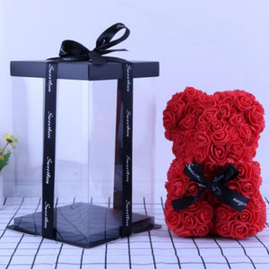 25cm Rose Bear Simulation Rose Bear Creative Christmas Valentine's Day Birthday Gift Bubble Rose Bear red blue white pink