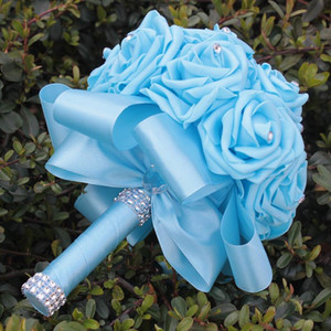 7colors Cheap Bridal Bouquet Wedding PE Rose Bridesmaid Holding Foam Flowers Handmade Fake Roses Crystal Bouquets Marrige W2020D