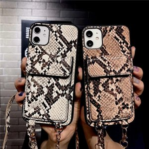 Crossbody Cards Holder Pocket Wallet Case For IPhone 12 Leather iPhone Cases Cover leather snake skin design phone case