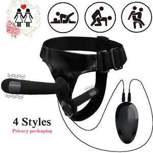 Double Penis Dildo VIbrator Adult Toy Erotic Ultra Elastic Harness Belt Strap On Dildo Remote Control Strap-On Harness Kit LJ201124